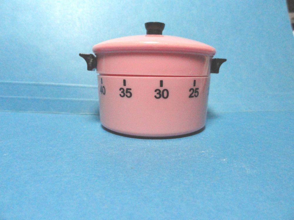 Vintage 1 Hour Pink and Black Plastic Pot Kitchen Timer | Kitchen