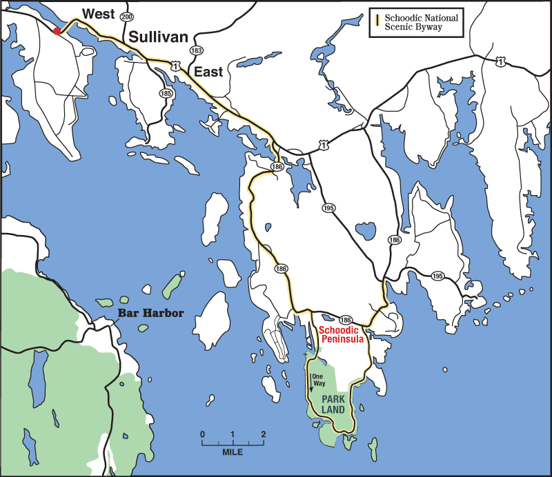 Location map of Sullivan, Maine