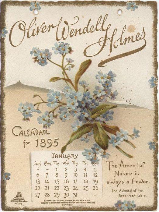 January 1895 Oliver Wendell Holmes Vintage Calendar Print