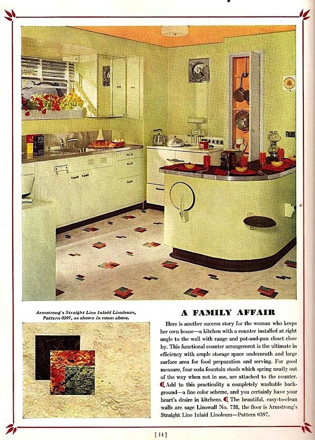 Dream Kitchens for 1939, Armstrong Cork Co. | Vintage Home nel 2019 ...