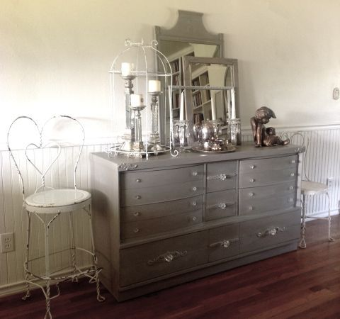 Loved the layered mirros and frame on this buffet (also