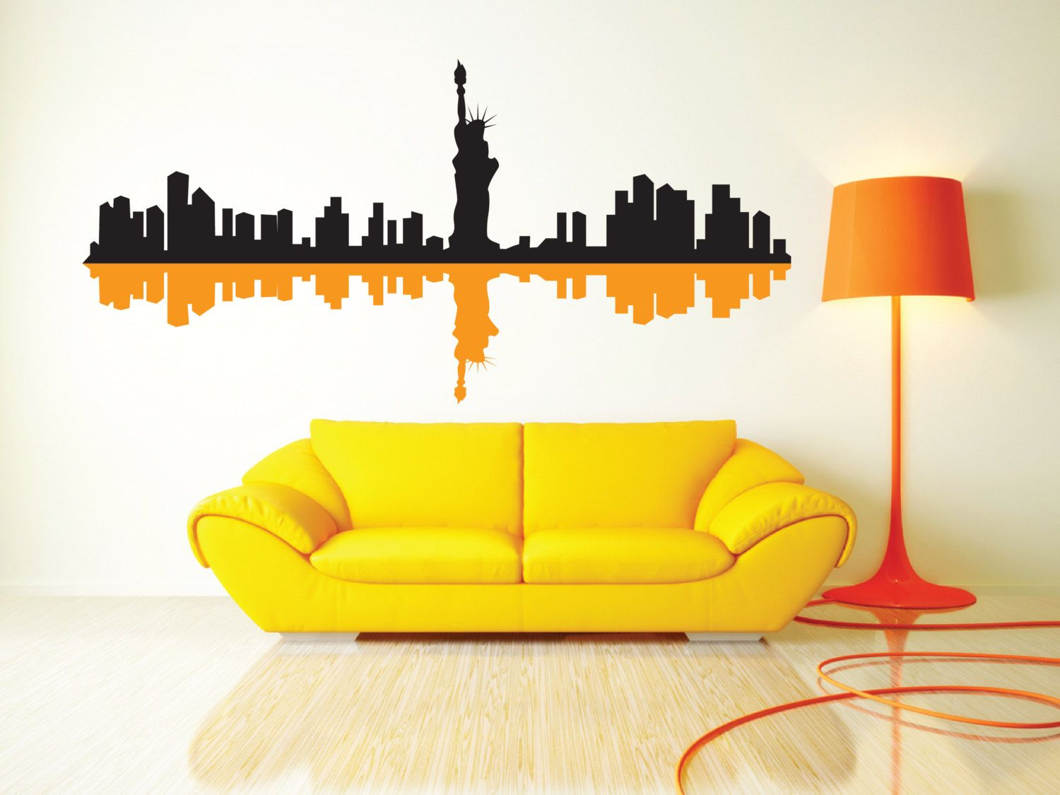 New York City Skyline & Shadow Removable Wall Art Decor Decal Vinyl ...