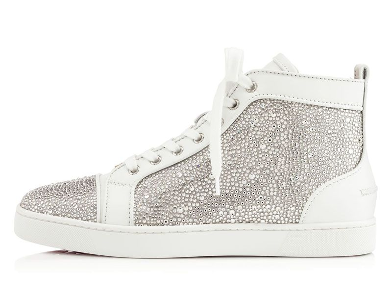 design de qualité 37274 5b61e Christian Louboutin LOUIS STRASS Baskets Homme Blanc ...