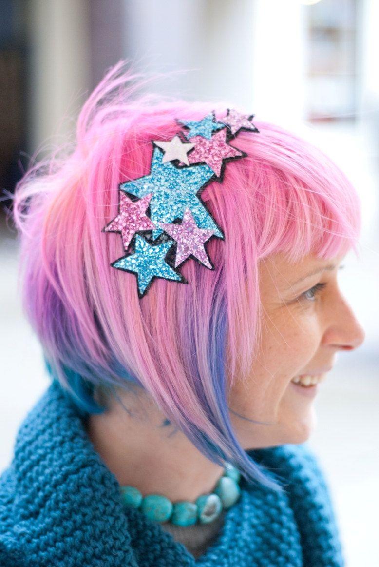 Glitter Stars Headband Galaxy of sparkly lilac, pale