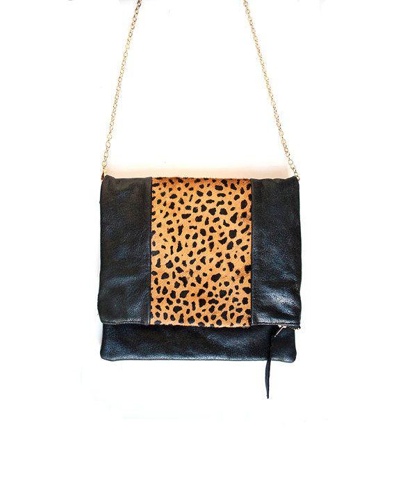 070a42b705f3 Leopard Fur Print and Black Leather Handbag. Leather Fold over Clutch.  Crossbody Purse. Animal Print bag