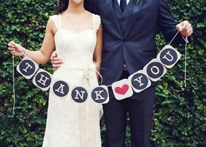 1 Set Thank You Wedding Bunting Banner Sign Party Decorations Photo Shoot