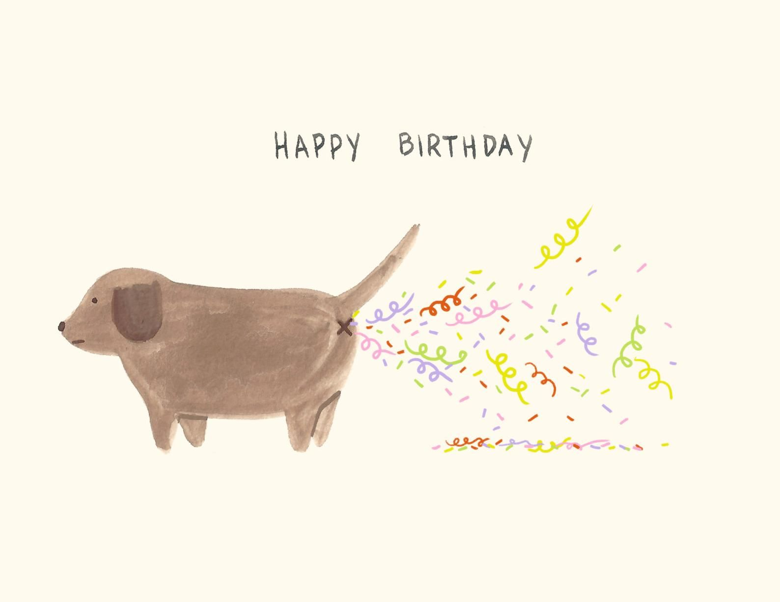 Confetti Fart / Birthday Card / Dog Birthday Card