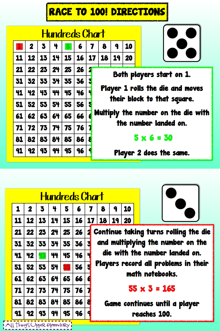 Multiplication Game Using A Hundreds Chart  Dice I Need To Add