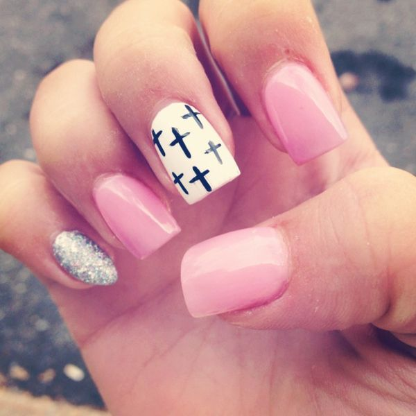 Cross Nails . Acrylic Designs . Pink - Cross Nails . Acrylic Designs . Pink Grippers Pinterest