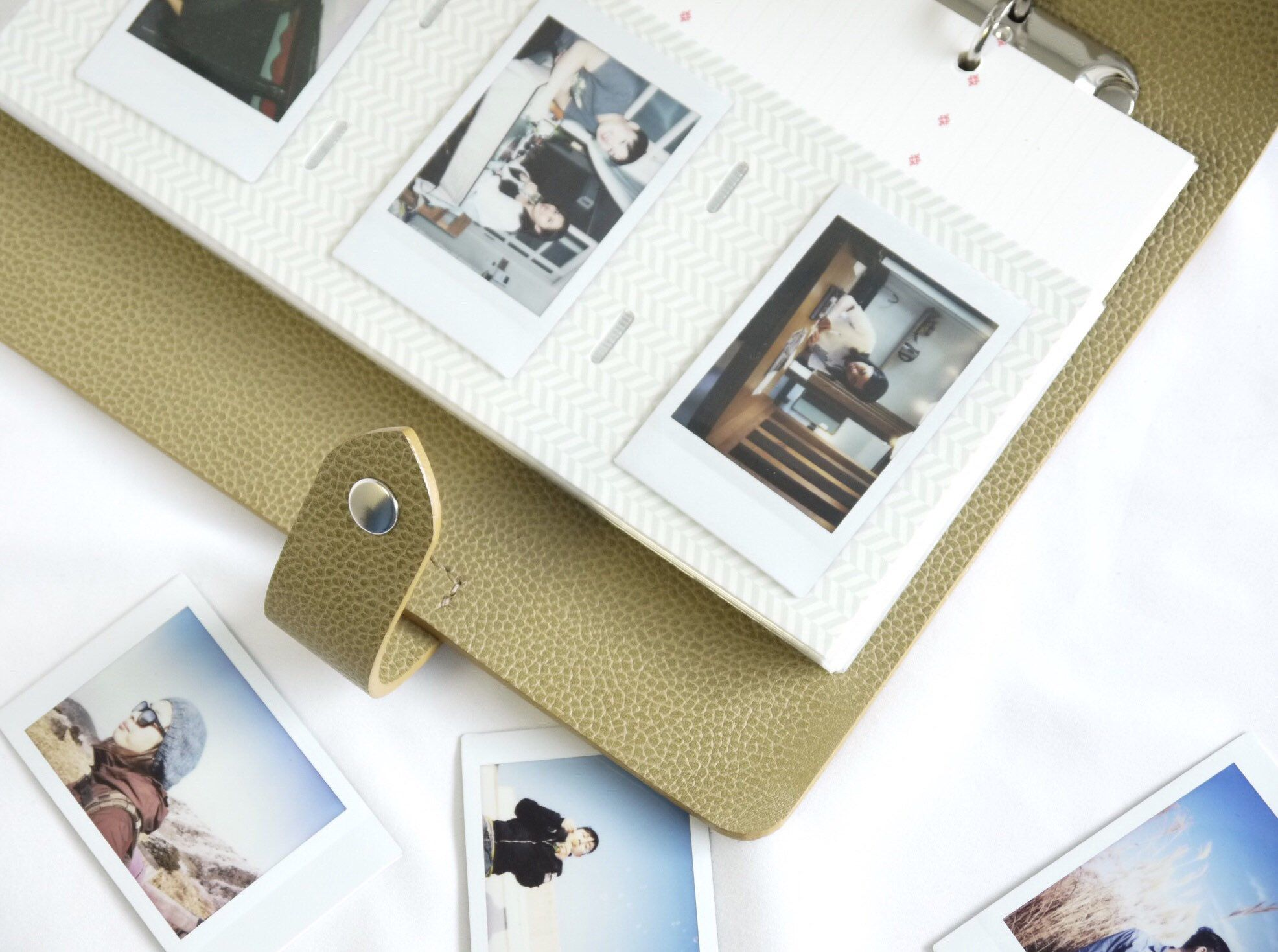 Vintage Braided Strap Chocolate Brown Genuine Leather Instant Polaroid Fuji Instax Mini Photo Album Card Holders