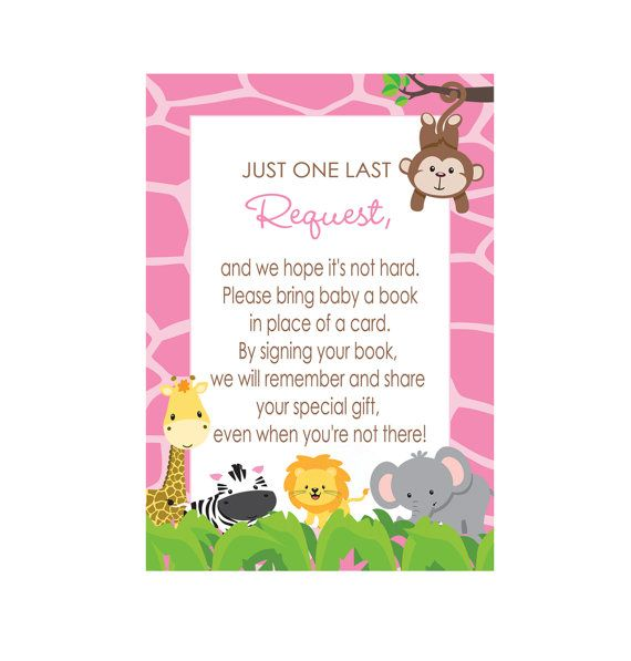 Pink Jungle Baby Shower Insert Card Printable By Papercleverparty