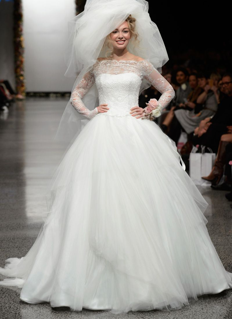 Lace sleeve wedding gown by anna schimmel bridal gowns