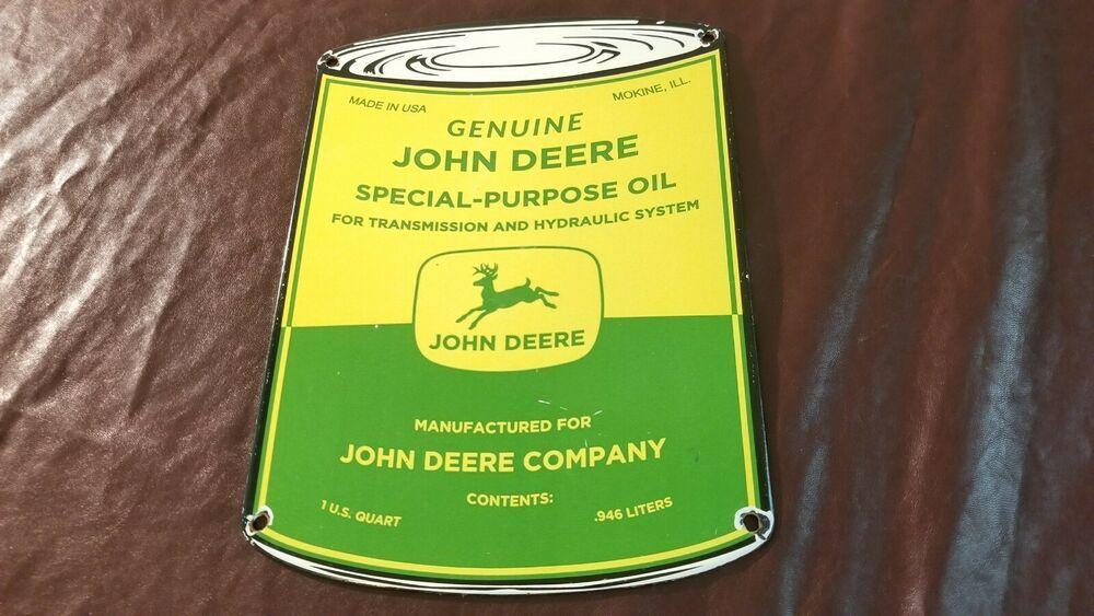 VINTAGE JOHN DEERE PORCELAIN GAS FARM TRACTOR MOTOR OIL