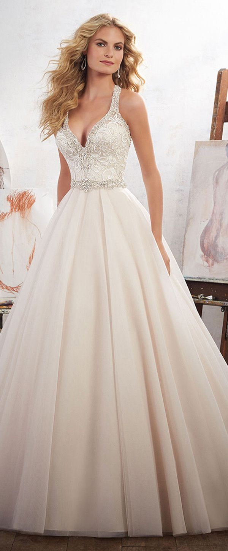Charming tulle u satin halter neckline aline wedding dresses with