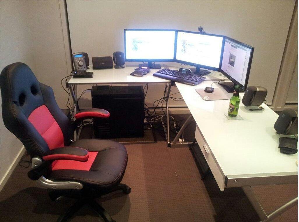 Game setup | Diy corner desk, Corner desk, Corner gaming desk