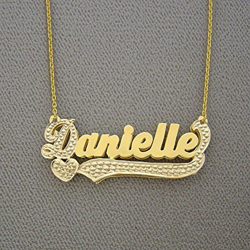 Solid 14k Yellow Gold 3d Double Plates Name Pendant 2 Tone Charm Gold 14k Yellow Gold Yellow Gold