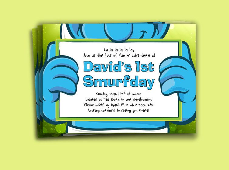 Smurfs Birthday Invitation Printable Download Print at Home with FREE THANK YOU Card. $15.00, via Etsy.