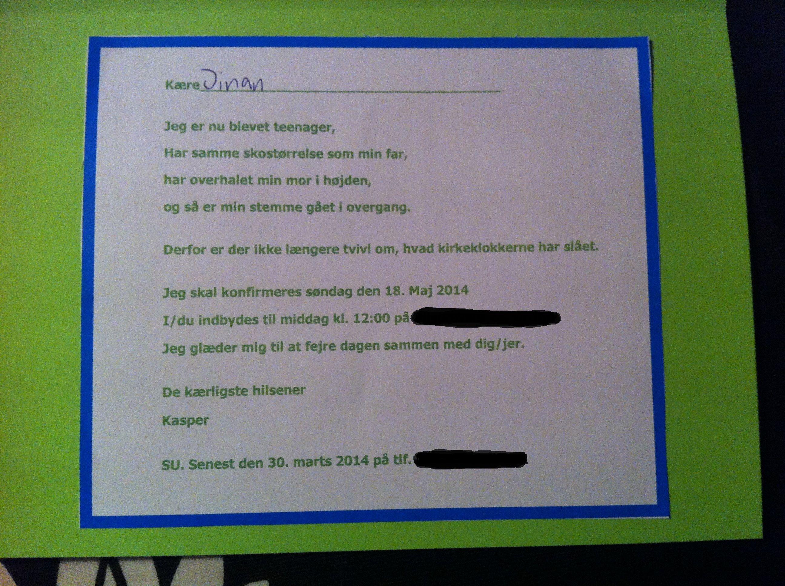 Tekst Til Invitation Konfirmation Egne Kreative Ting
