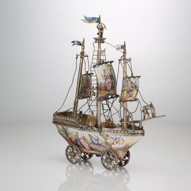 Vienna Enamel silver mounted Boat
