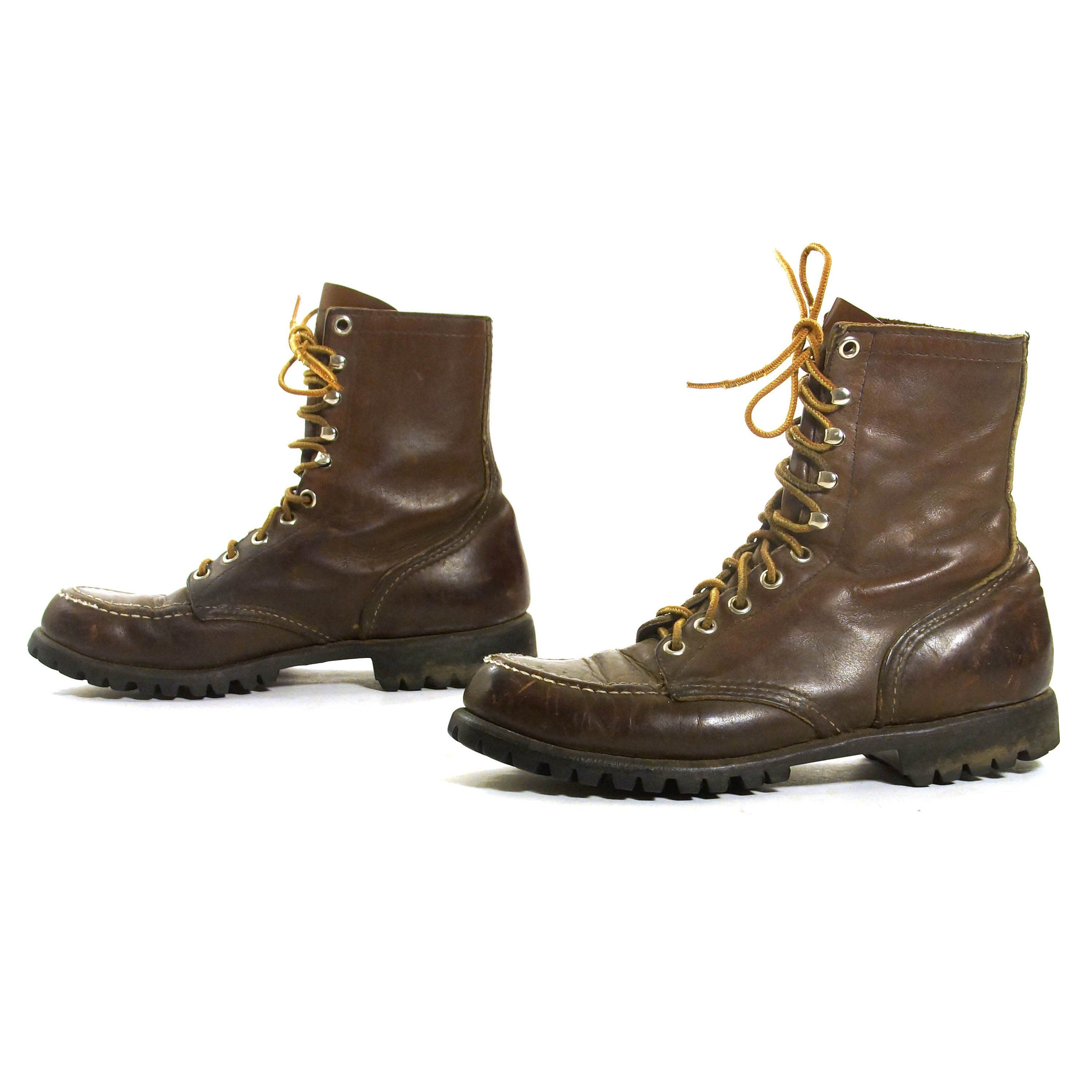 cde309119f576 Red Wing Lace Up Ankle Boots Vintage 90 Brown Leather Work Combat ...