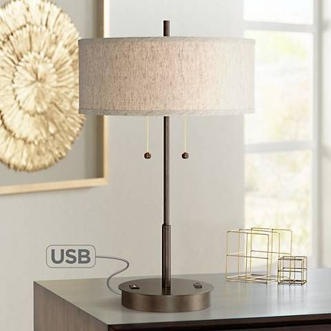 Equipped With A USB Port And An Outlet Utility Plug On Its Base, This Slim  · Metal Table LampsMetal ...