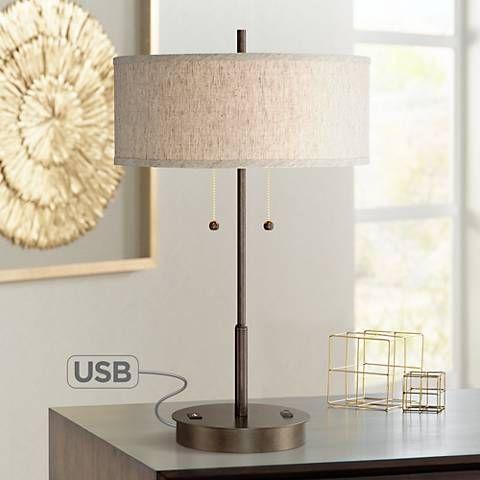 Nikola Bronze Metal Table Lamp With Usb Port 8n428 Lamps Plus