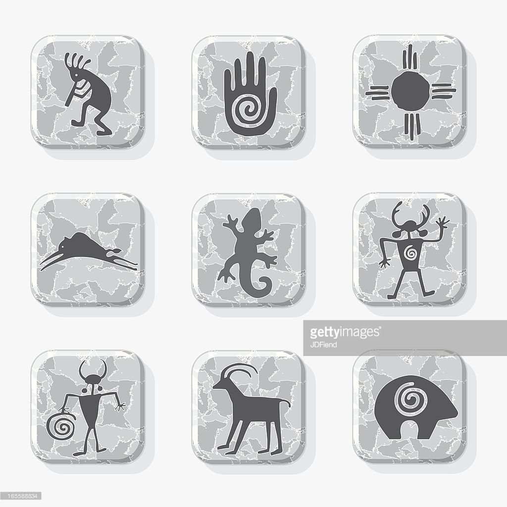 Native American Petroglyph Icons On A Textured Stone Tile