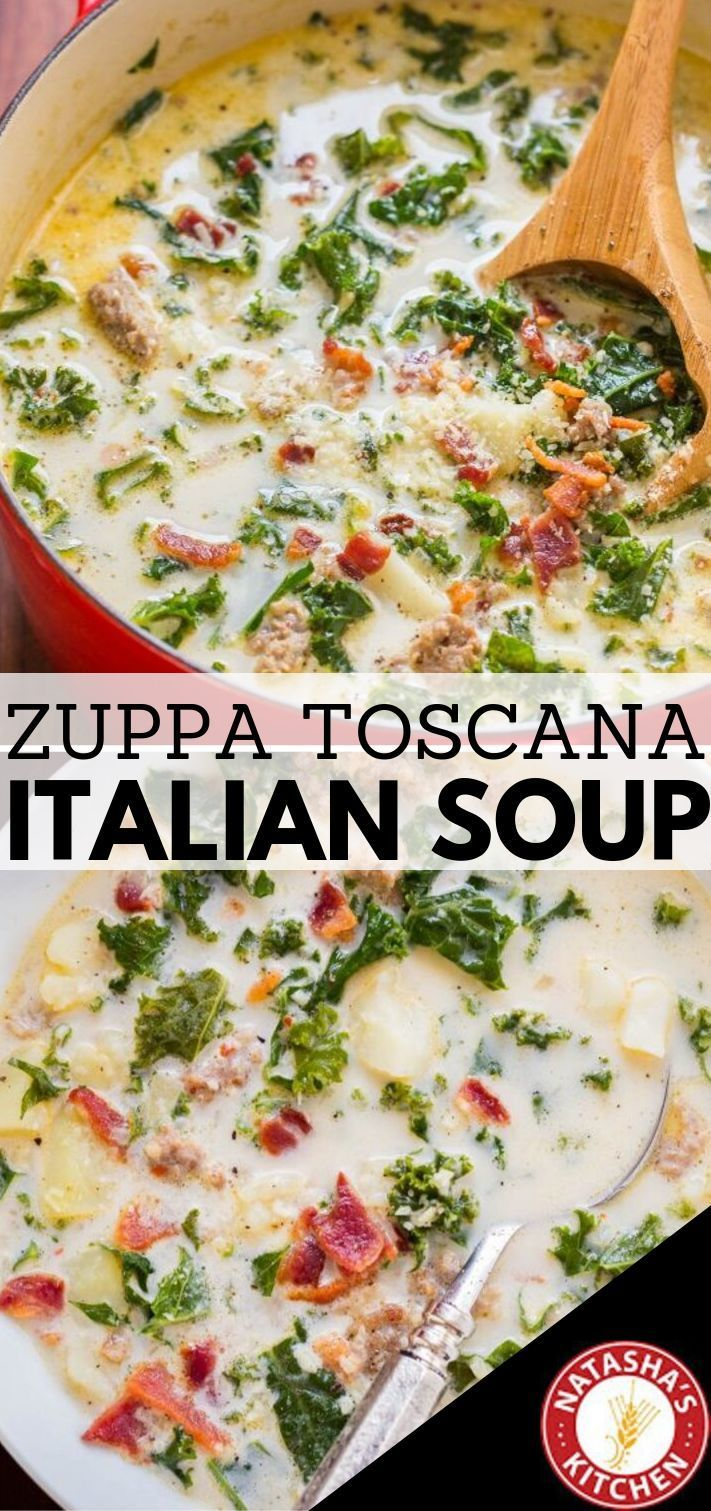 Zuppa Toscana is Olive Garden's most popular soup. This one-pot, homemade Zuppa Toscana recipe is hearty and loaded with Italian sausage, kale, bacon and potatoes.  #olivegarden #soup #copycat  #copycatrecipes #zuppatoscana #zuppatoscanasoup
