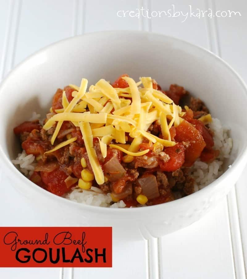 Easy Recipe For Ground Beef Goulash Served Over Rice A Family Favorite Ground Beef Goulash Beef Goulash Ground Beef