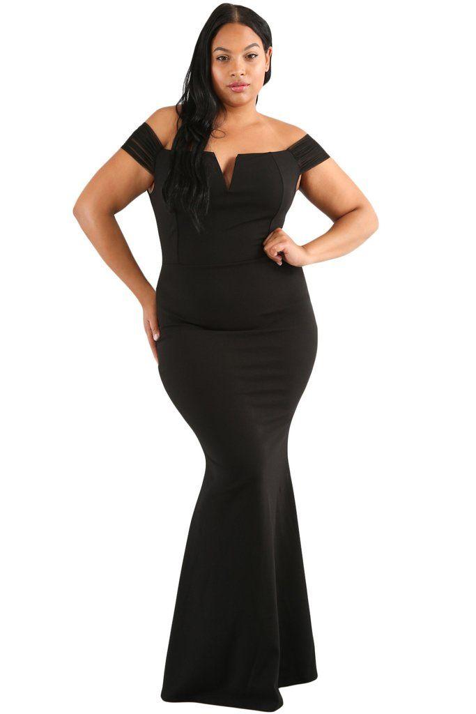 55e1dcc7170 Plus Size Sheer Sleeve Black Column Dress