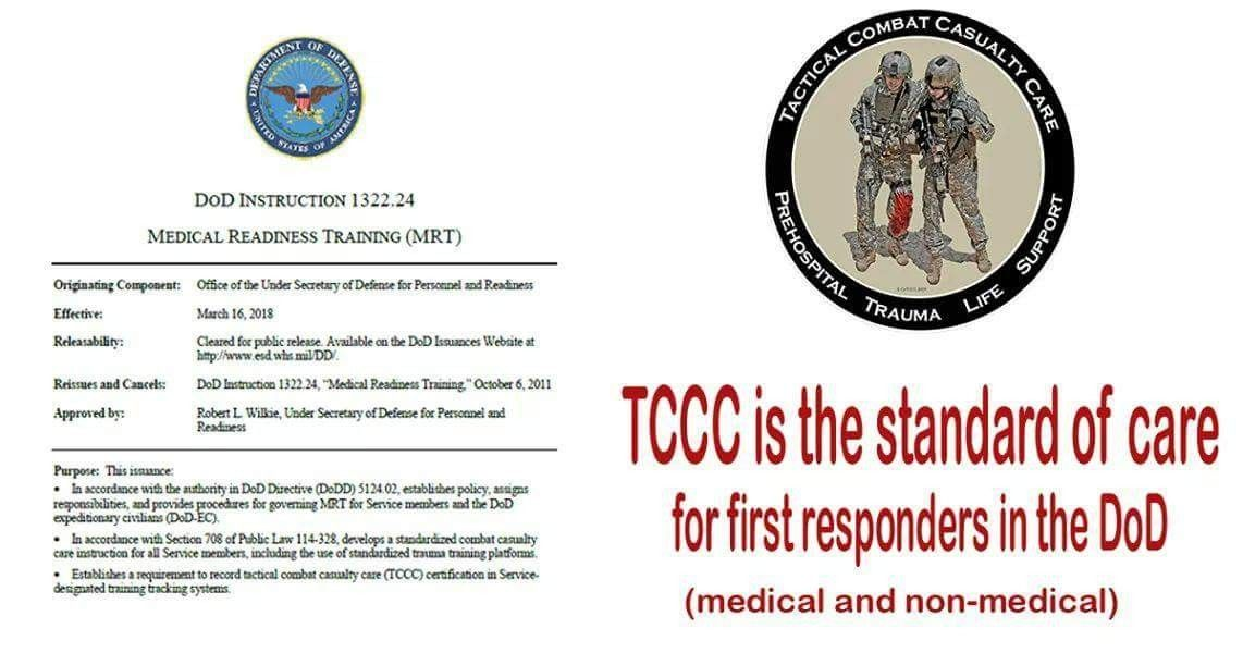 Tccc Is Now The Standard Of Care For The Dod All Service Members