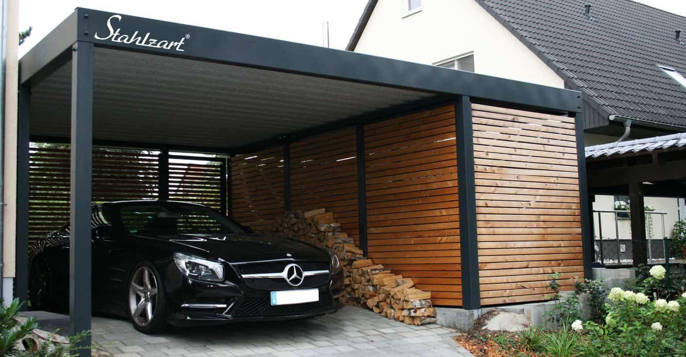 Carport Metall Holz München · Abstellraum · Stahlcarport