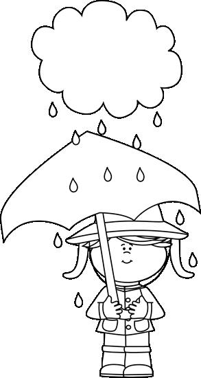 Black And White Girl Under A Rain Cloud Clip Art Black And White Girl Under A Rain Cloud Image Black And White Girl Rain Clouds Coloring Pages