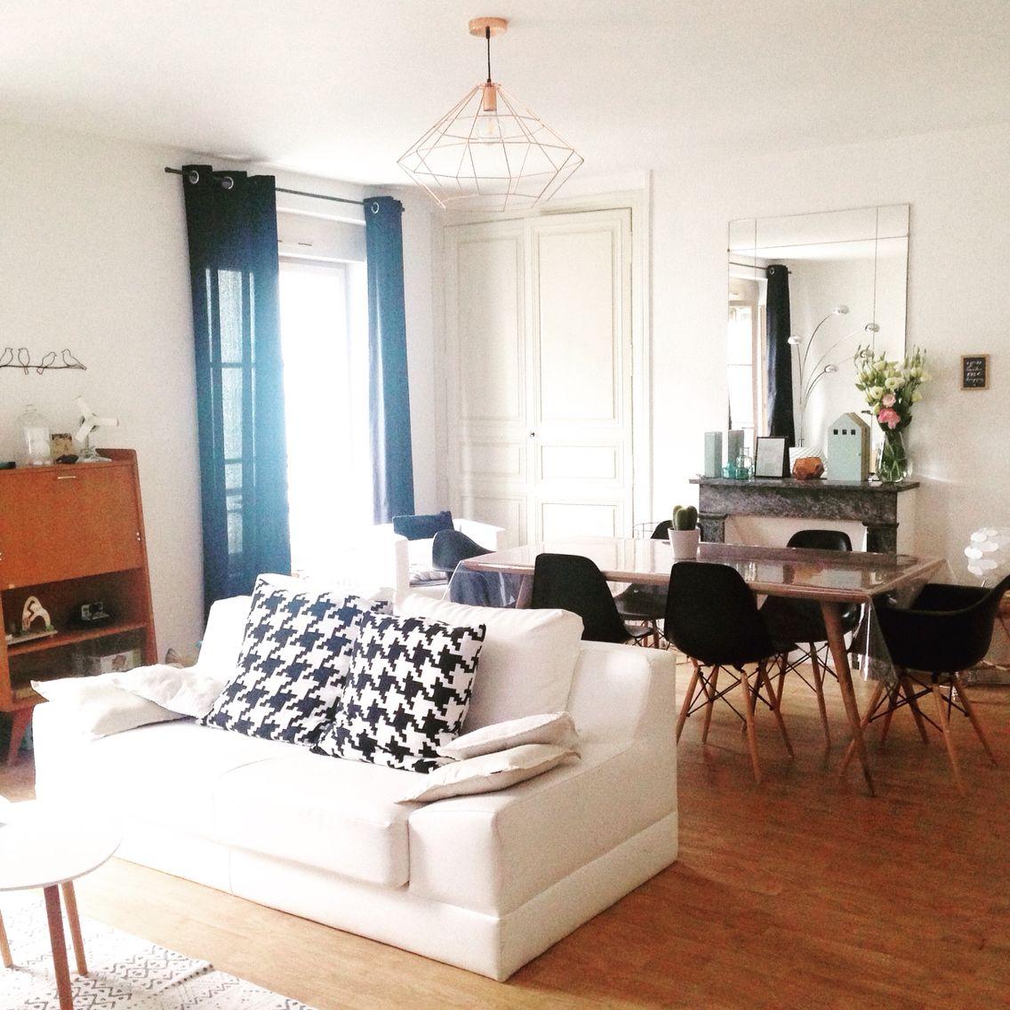 salon salle manger noir et blanc table trocad ro et suspension cuivre maison du monde. Black Bedroom Furniture Sets. Home Design Ideas