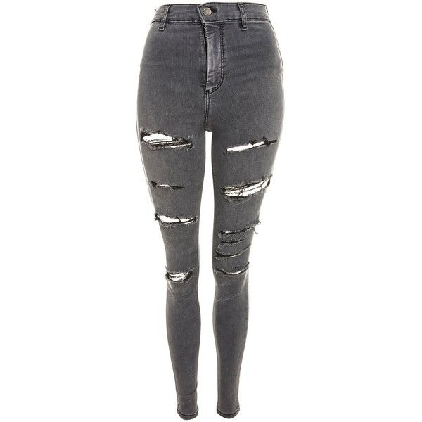 3a4109f7ecb Topshop Moto Grey Super Ripped Joni Jeans ($57) ❤ liked on Polyvore  featuring jeans, bottoms, grey, destroyed skinny jeans, pull on skinny jeans,  ...