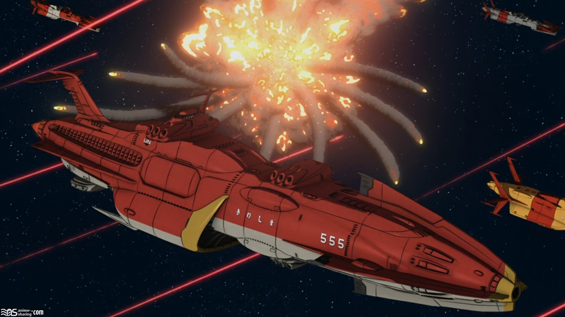 Space Battleship Yamato Battles Explosions Outer Ships 1920x1080