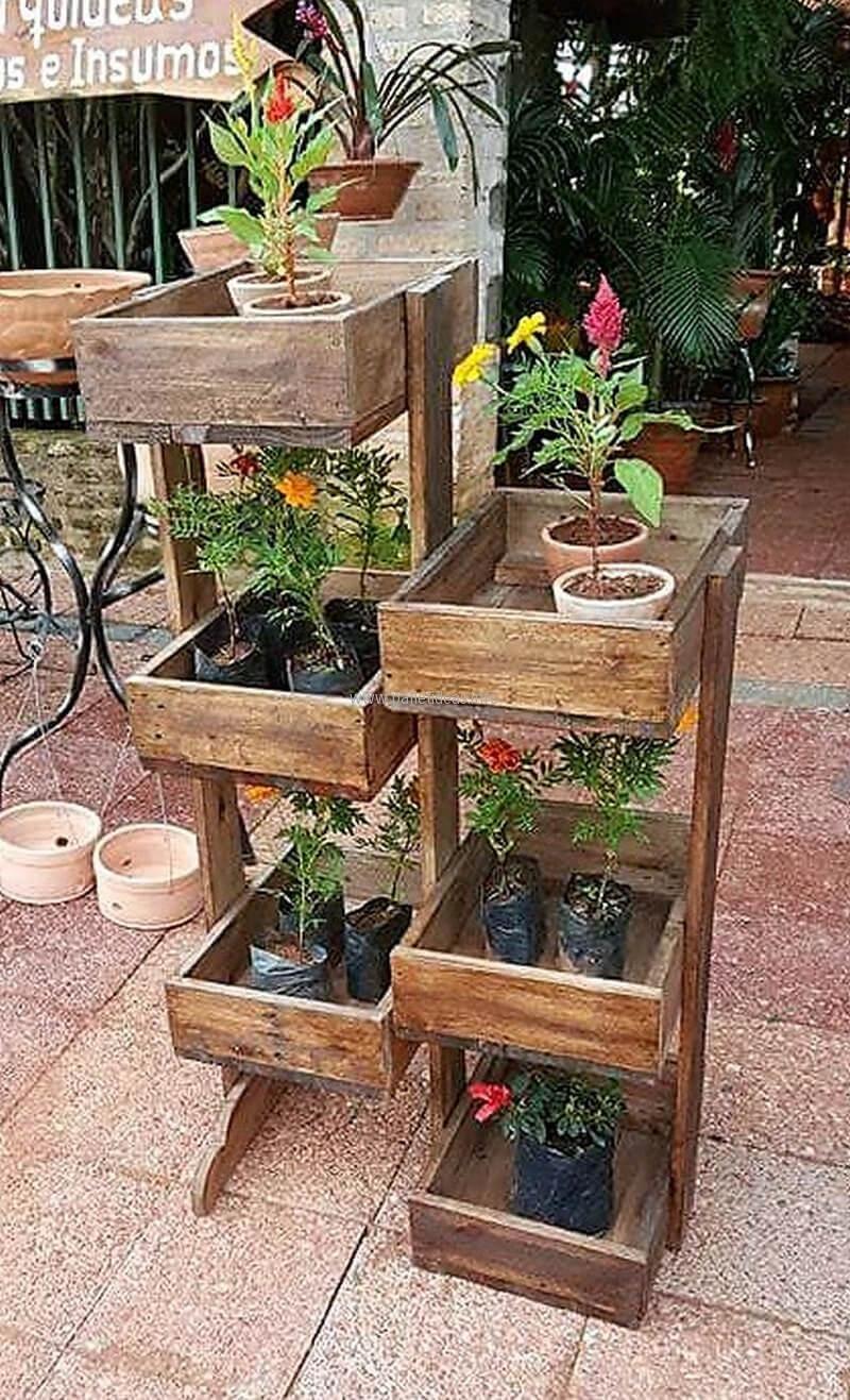 pallet multi tier pots stand | Outdoor Furniture | Pinterest ...