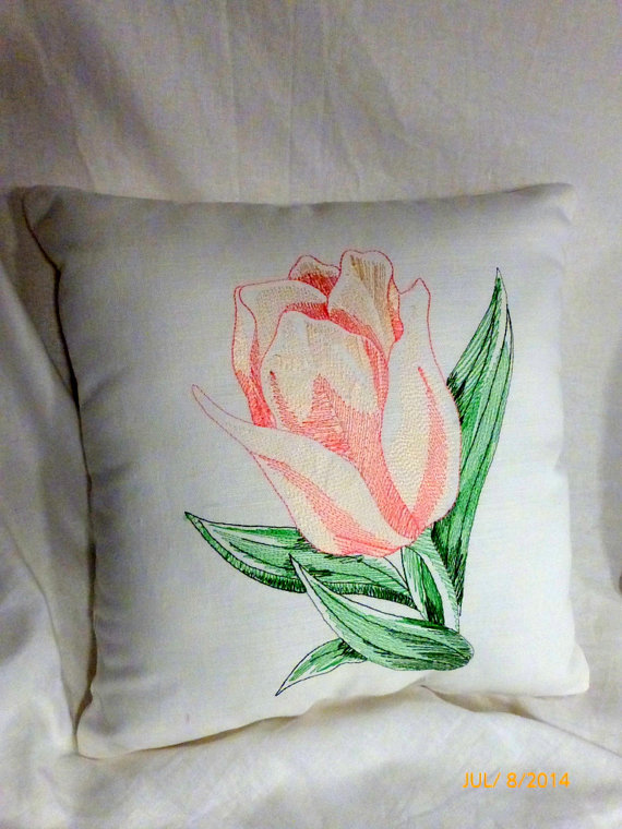 Embroidered pillow  Linen pillow Peach by JulieButlerCreations, $28.50
