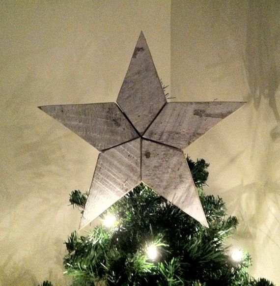 White Wooden Christmas Star Tree Topper Decoration 12 Inch Star Tree Topper Made From Reclaimed Wood Diy Christmas Tree Topper Diy Tree Topper Christmas Tree Topper Decorations