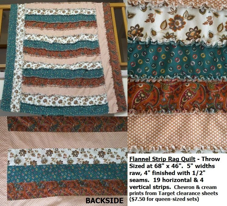 Flannel Strip Rag Quilt Throw Size At 70 X 50 5 Unfinished