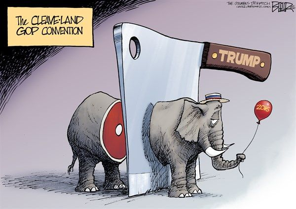 Nate Beeler - The Columbus Dispatch - The GOP Split COLOR - English - cleveland, cleaver, cleave, gop, convention, rnc, republican, 2016, politics, elephant, split, party, donald trump, nominee, nomination, election, president, presidential, ohio