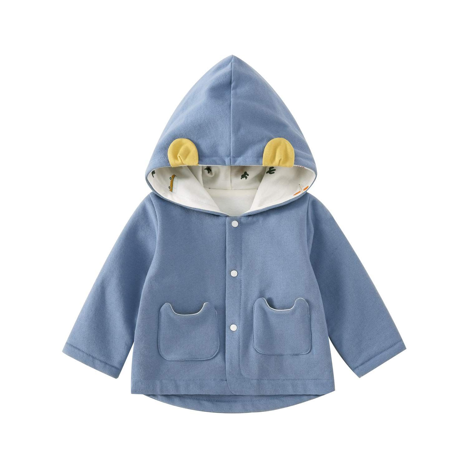 Pureborn Infant Baby Boy Cotton Lined Hooded Ears Jacket Spring Autumn Outfit Blue 6 12 Months Make Certai In 2020 Baby Girl Jackets Baby Boy Jackets Autumn Outfit