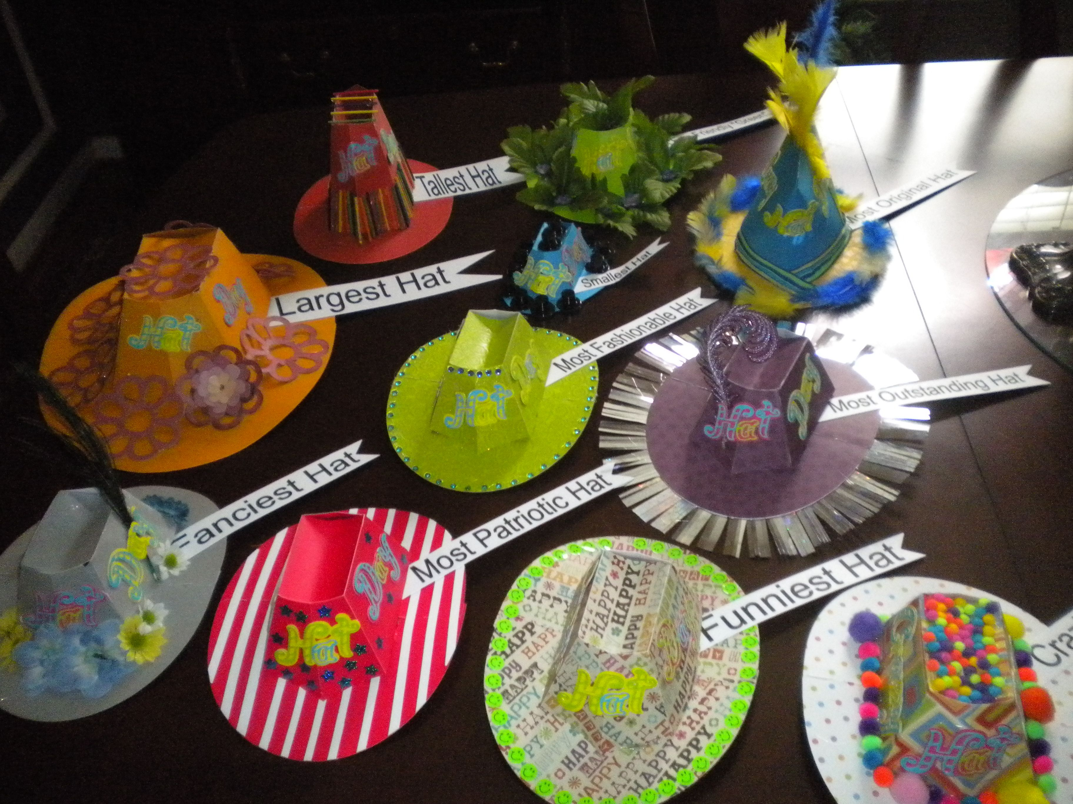 Paper 3-D Hats Used As Awards For The Various Categories