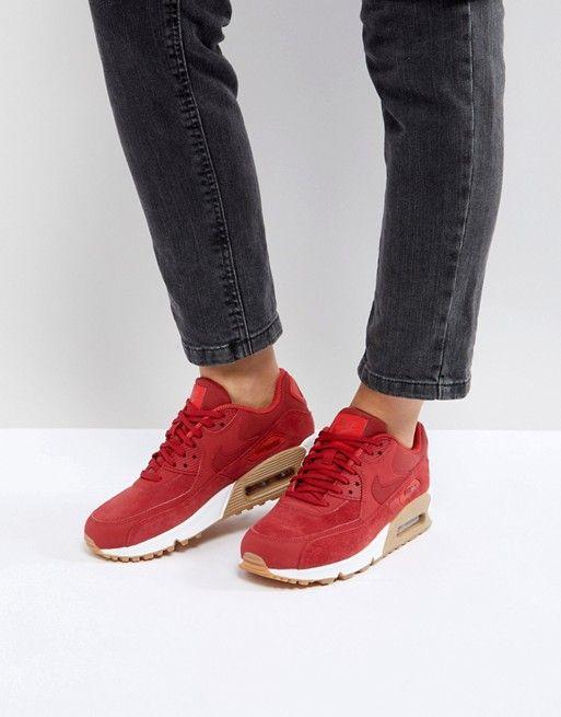 Zapatillas de deporte de ante con suela de goma en rojo Air