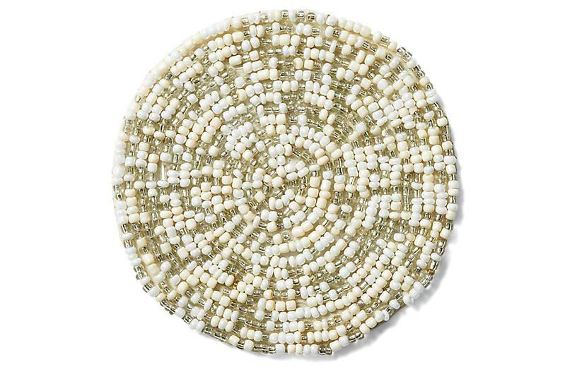 Set of 4 Mix Bead Coasters - Silver/White