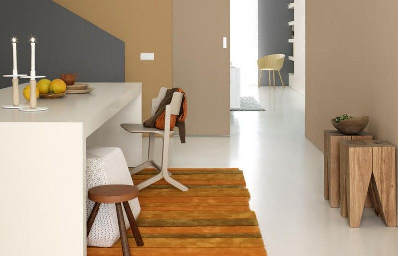 Wandfarben-Ideen-Sand-Esszimmer-Beige-Camel-Grau-weisser-Boden