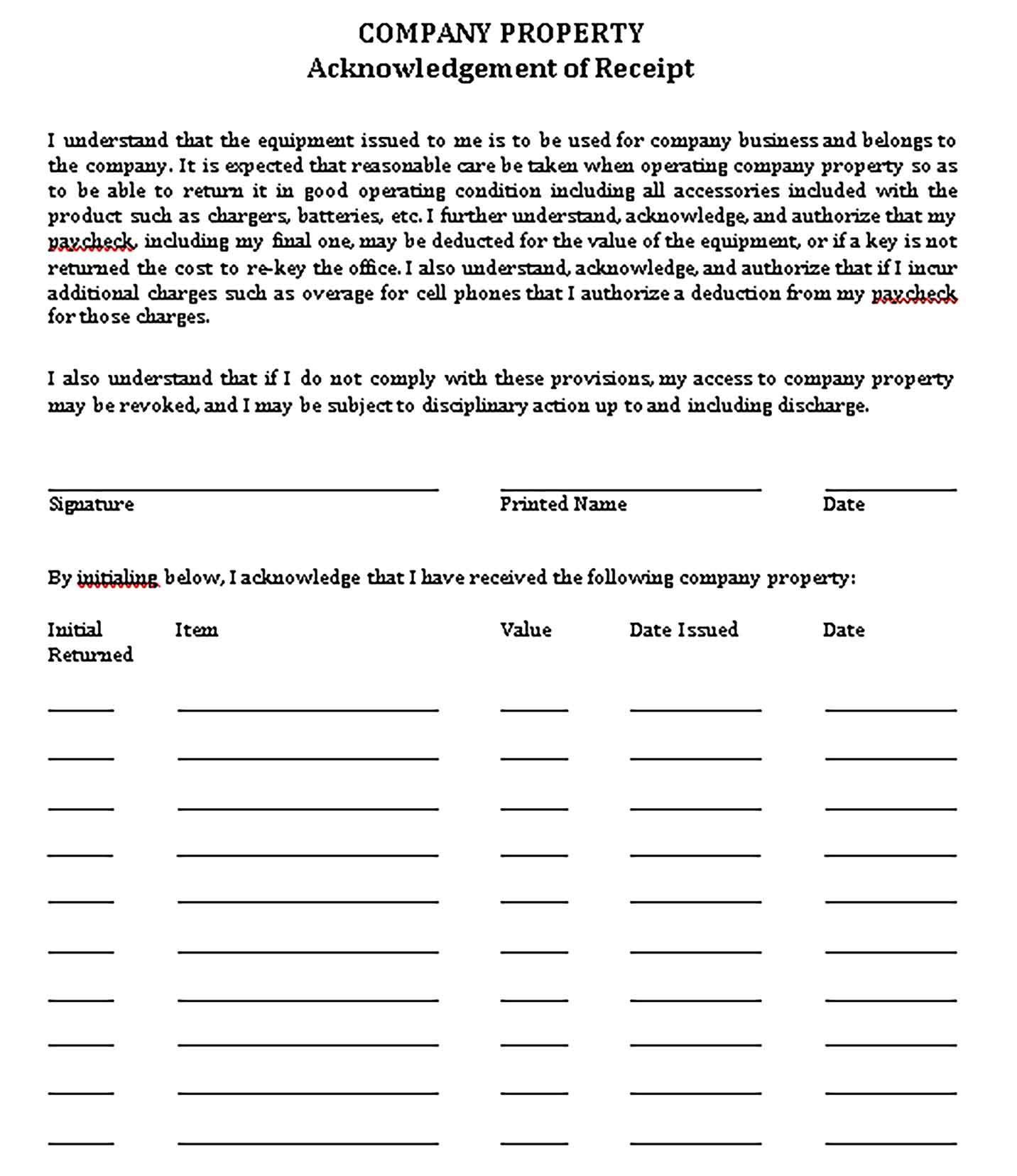 Printable Company Receipt Template