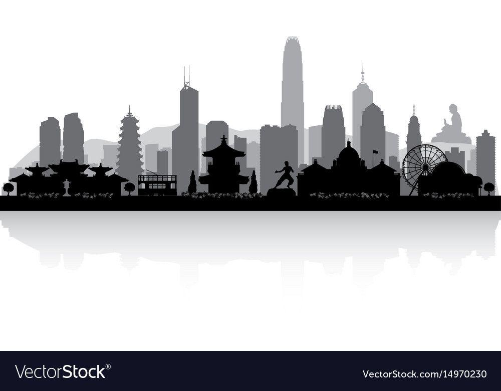 Hong Kong China City Skyline Silhouette Royalty Free Vector Sponsored China City Hong Kong Ad Houston Skyline San Diego Skyline China City