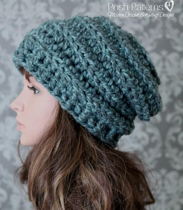 Crochet Pattern - Chunky Crochet Hat Pattern Beehive Slouchy | Pinterest