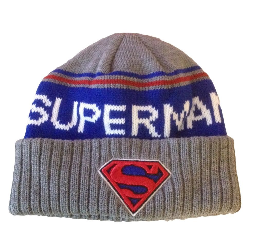 45fac5773a7 ... order dc comics superman embossed patch shield thick knit cuff beanie  skull hat dccomics beanie 63b07 ...